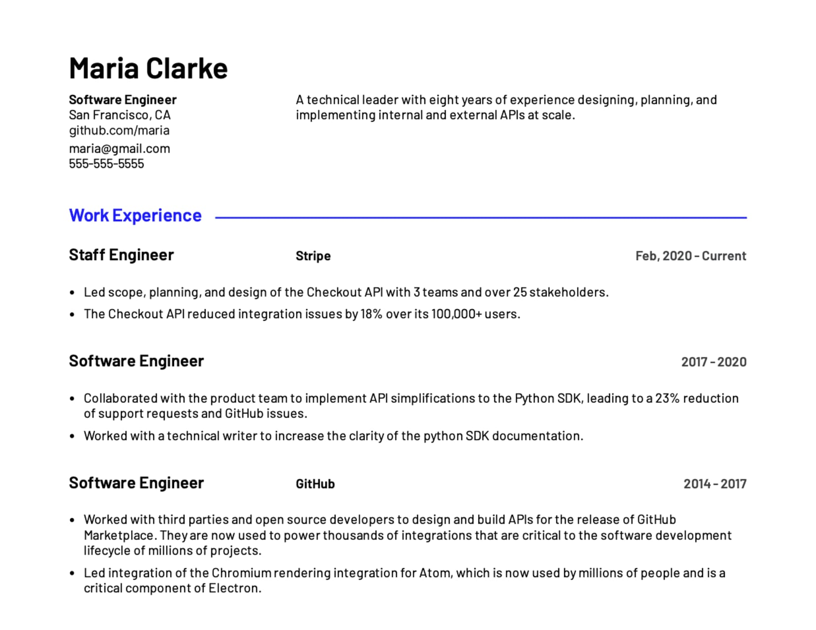 Software engineer example resume template