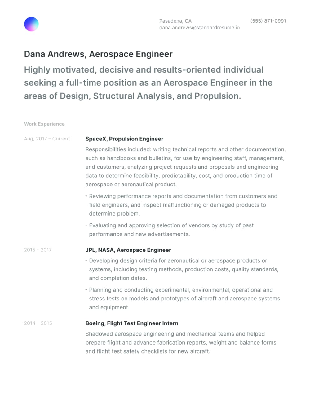 Example Standard Resume template