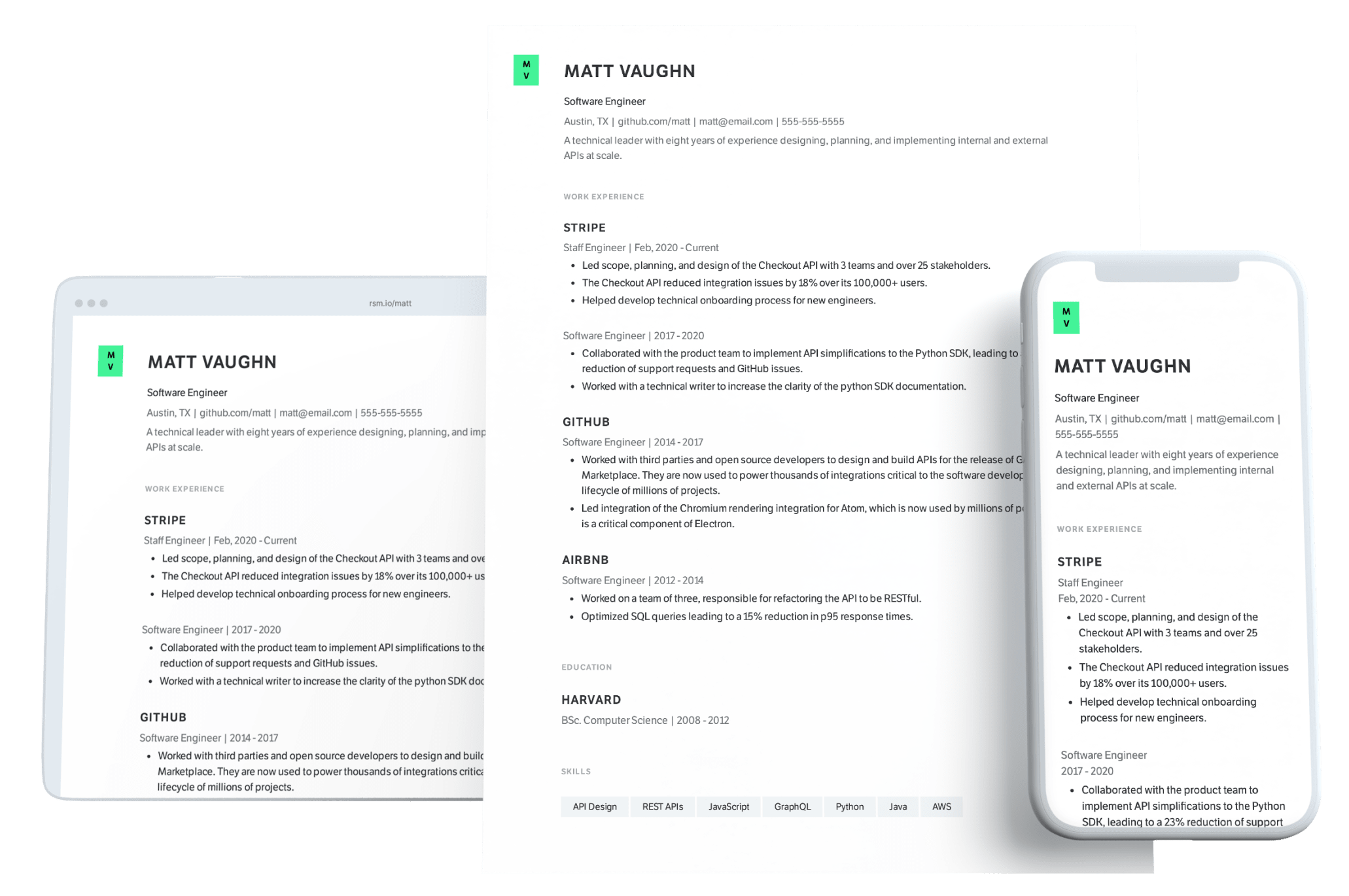 Software Engineer PDF resume template and web resume