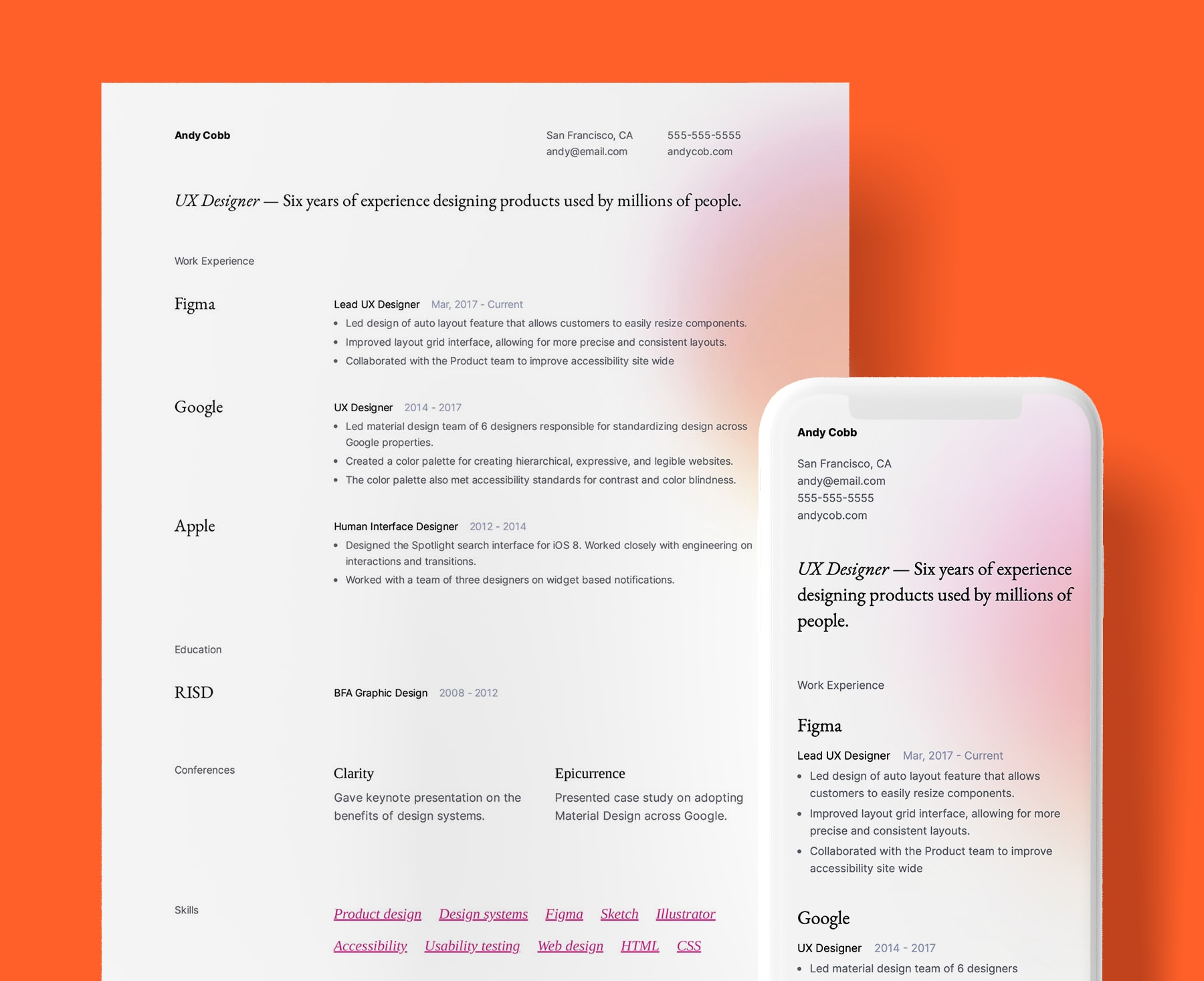 Cordova modern resume template for UX Designers. Shown in web and PDF format.