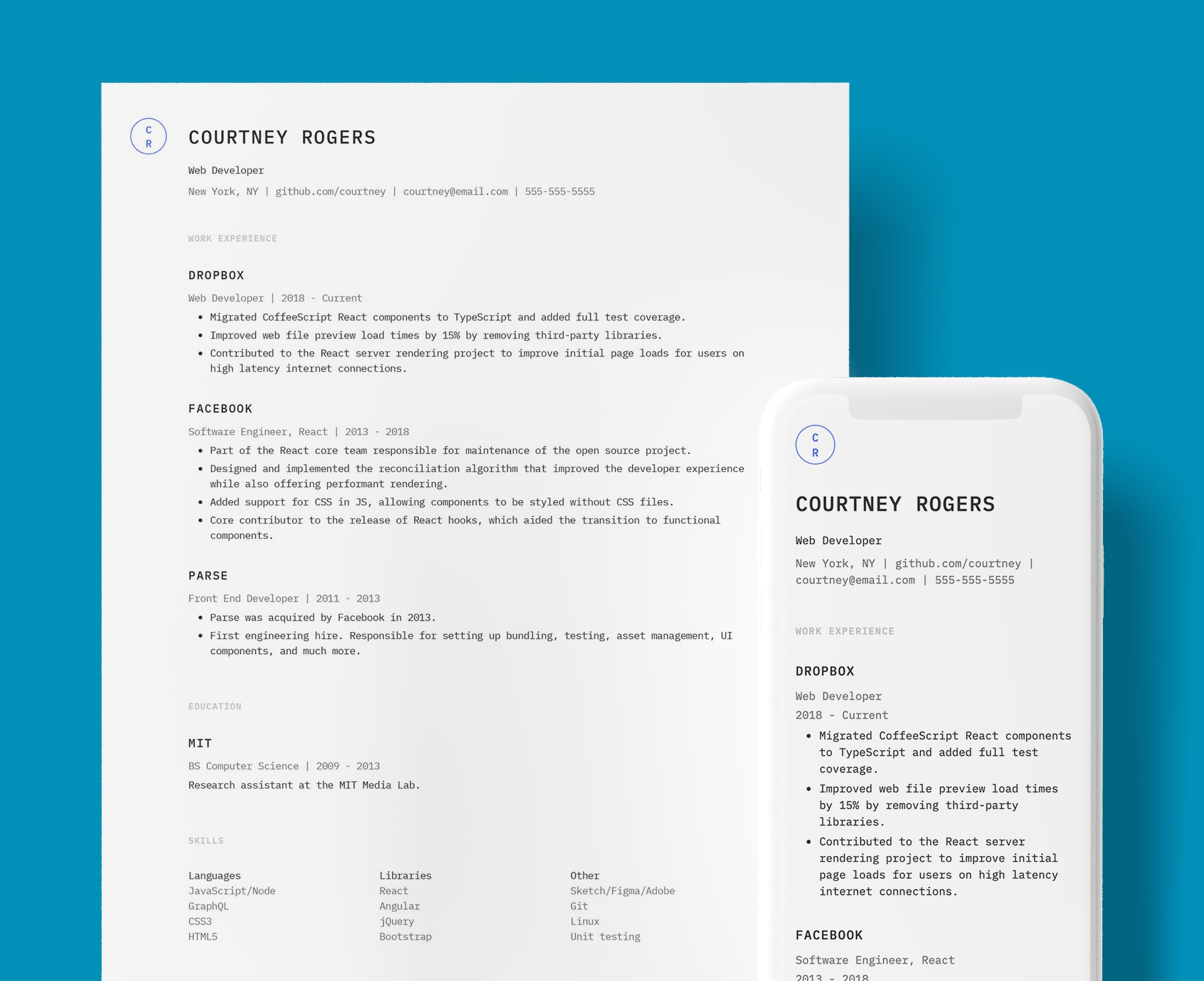 Keefer simple resume template for Web Developers. Shown in web and PDF format.