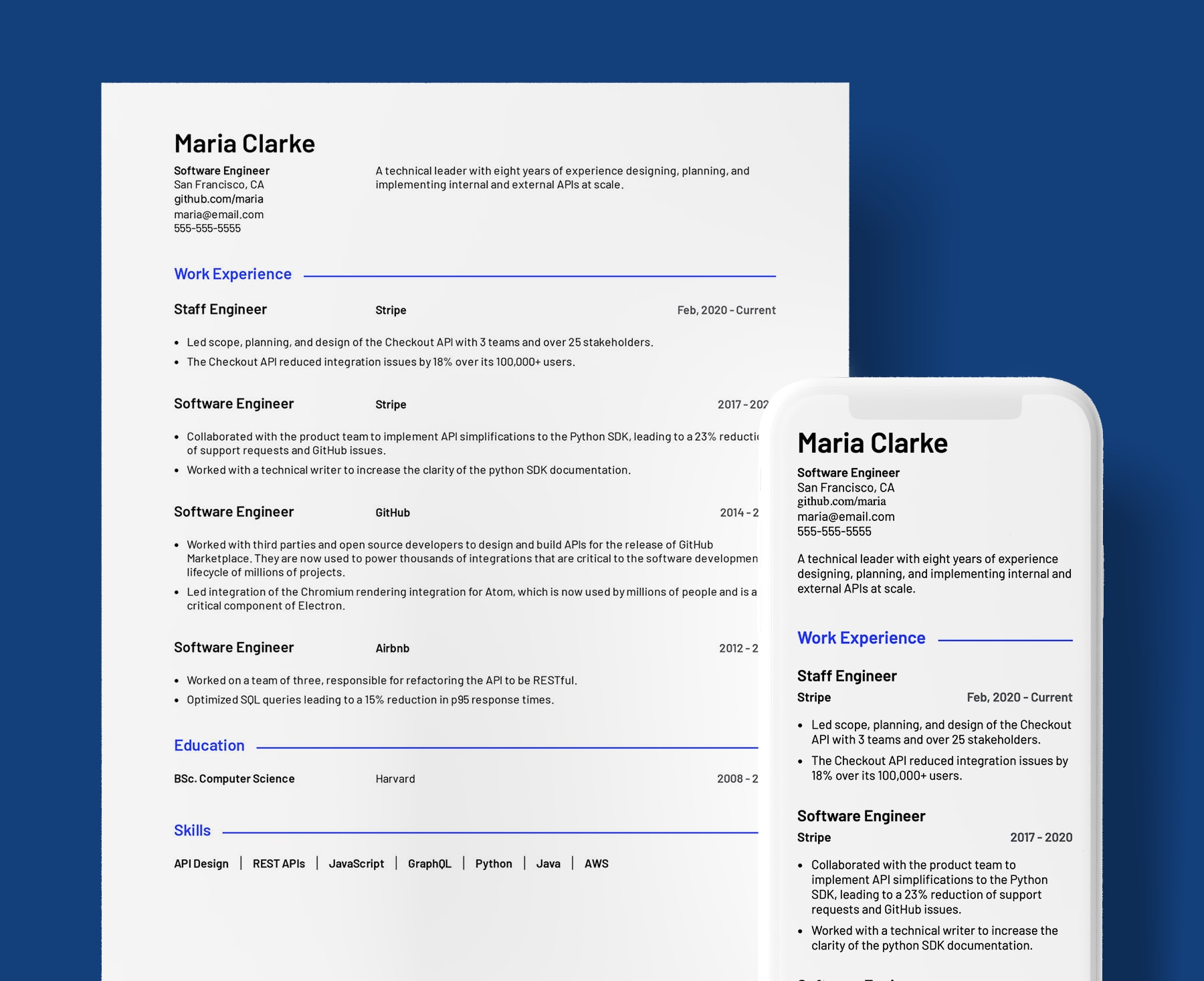 Parker basic resume template for Software Engineers. Shown in web and PDF format.