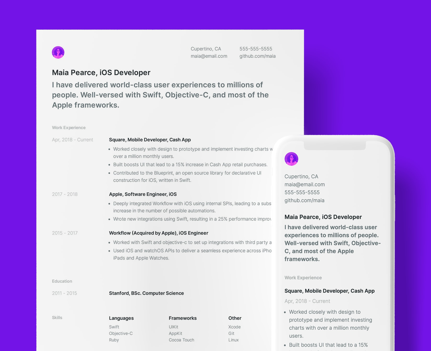 Pender simple resume template for iOS Developers. Shown in web and PDF format.