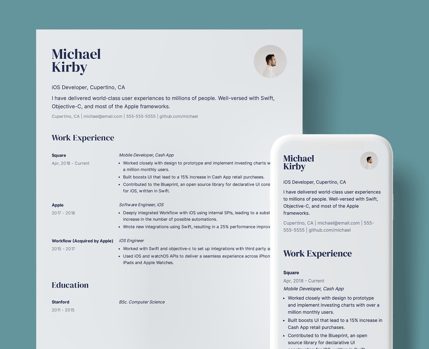 Seymore professional resume template for iOS Developers. Shown in web and PDF format.