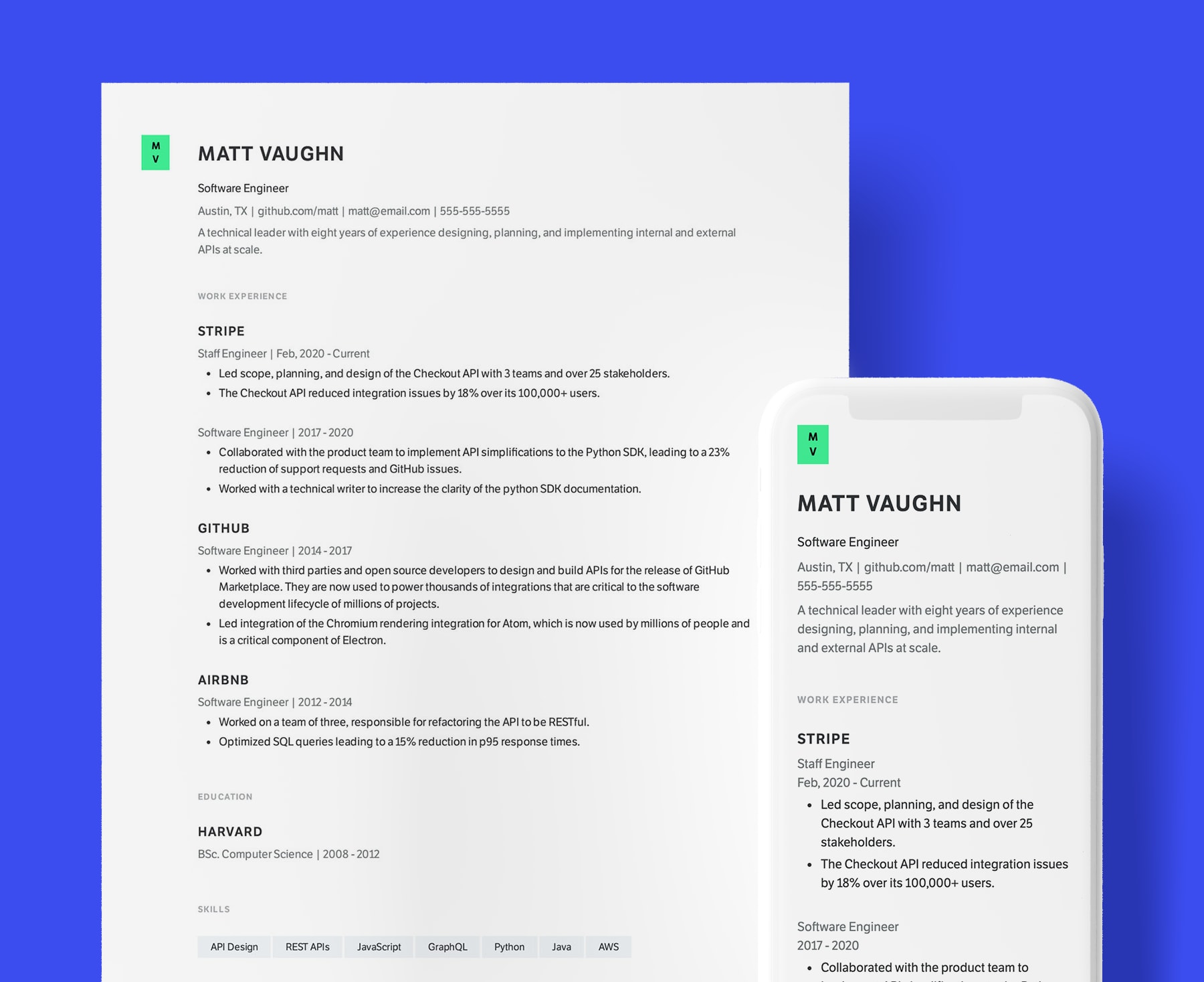 Sidney simple resume template for Software Engineers. Shown in web and PDF format.