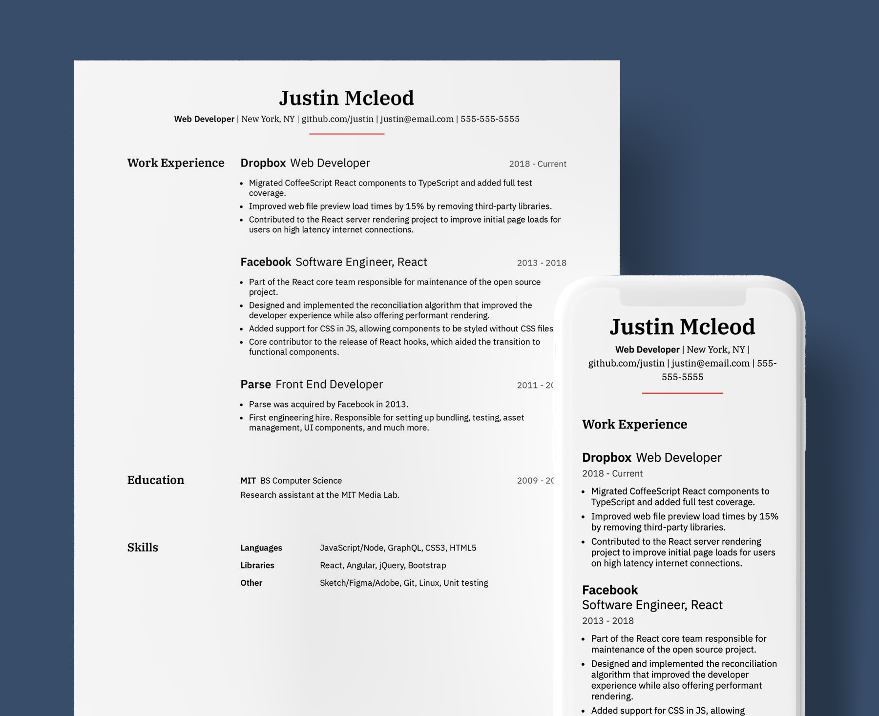 Venables professional resume template for Web Developers. Shown in web and PDF format.