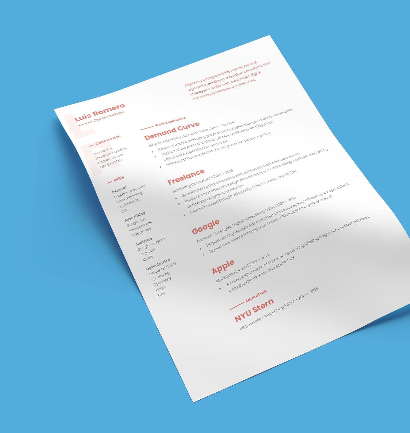 Georgia modern resume template created with Standard Resume builder.