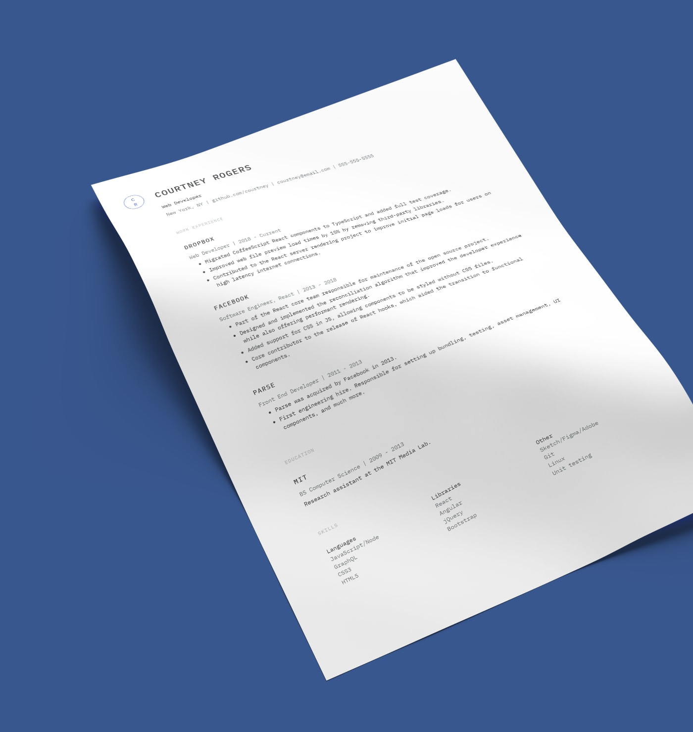 Keefer simple resume template created with Standard Resume builder.