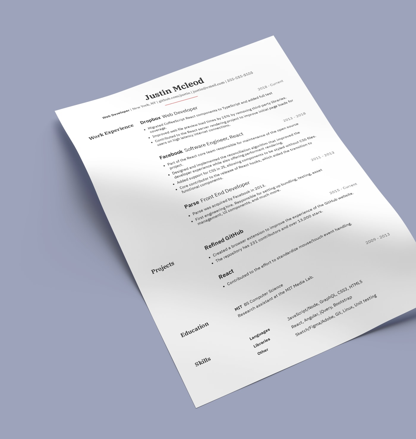 Venables professional resume template built with Standard Resume builder.