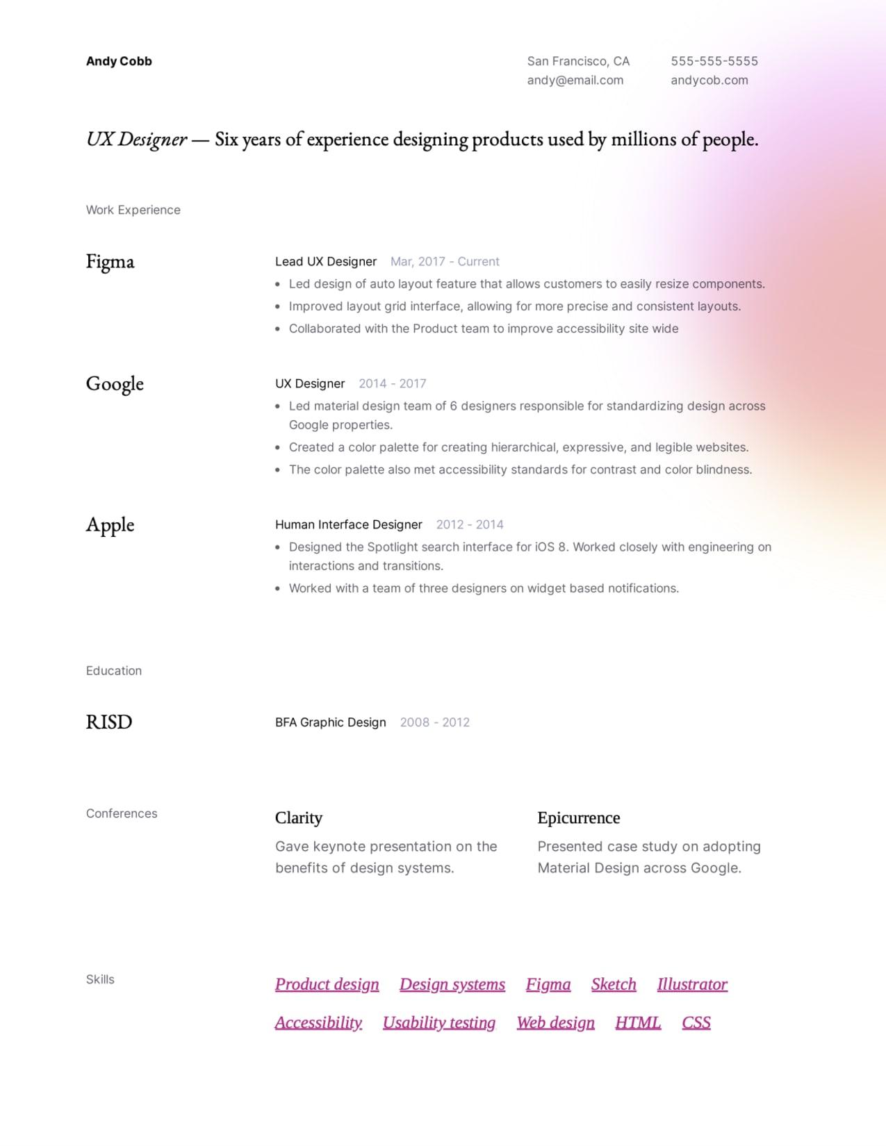 Modern UX Designer resume example.