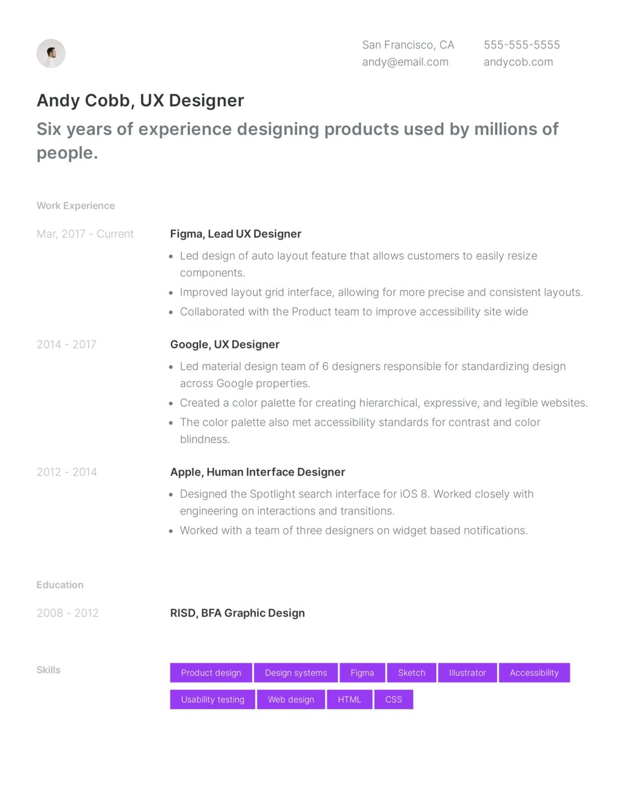 Simple UX Designer resume template example.