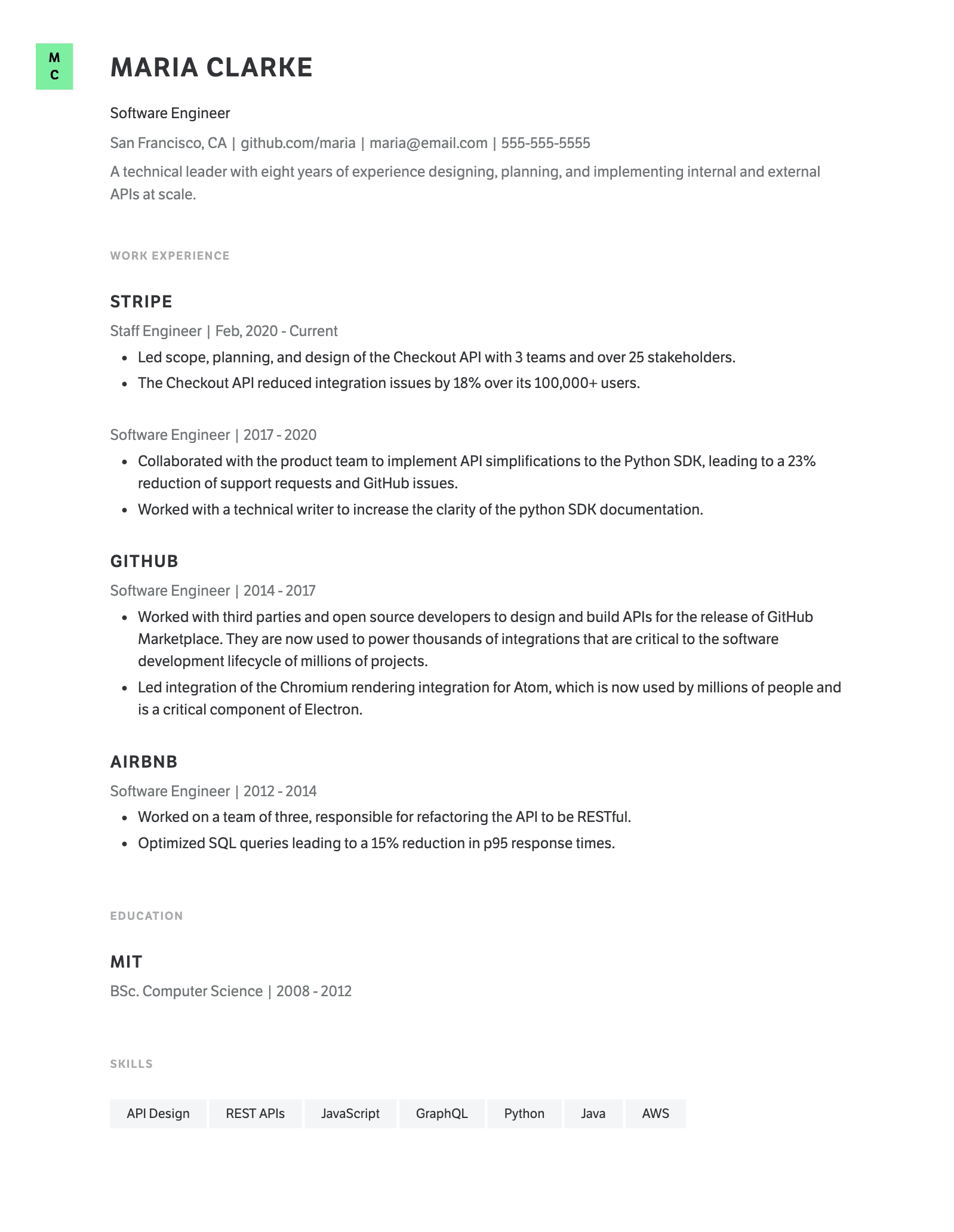 Example software engineer resume template