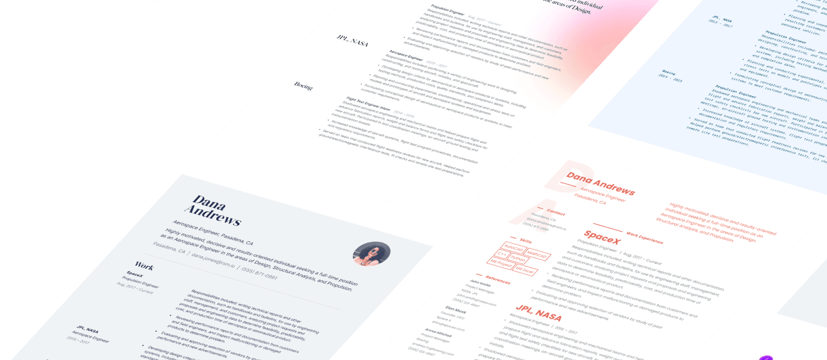 Resumes built using Standard Resume templates