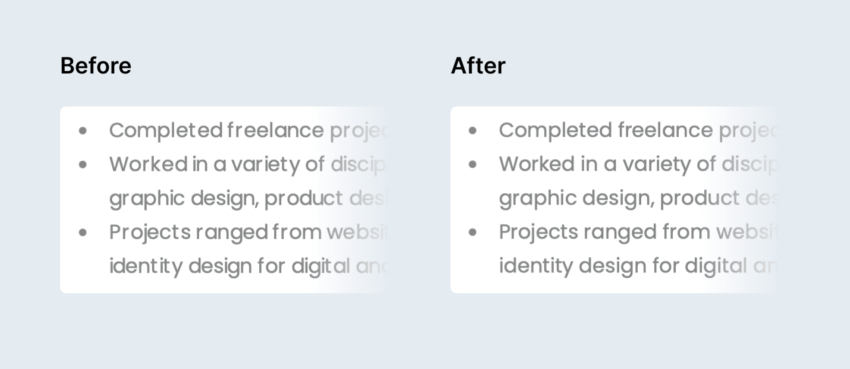 Comparing resume PDF typography before and after