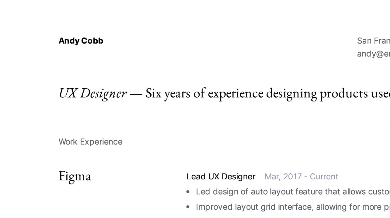 Design details of modern UX Designer resume sample.