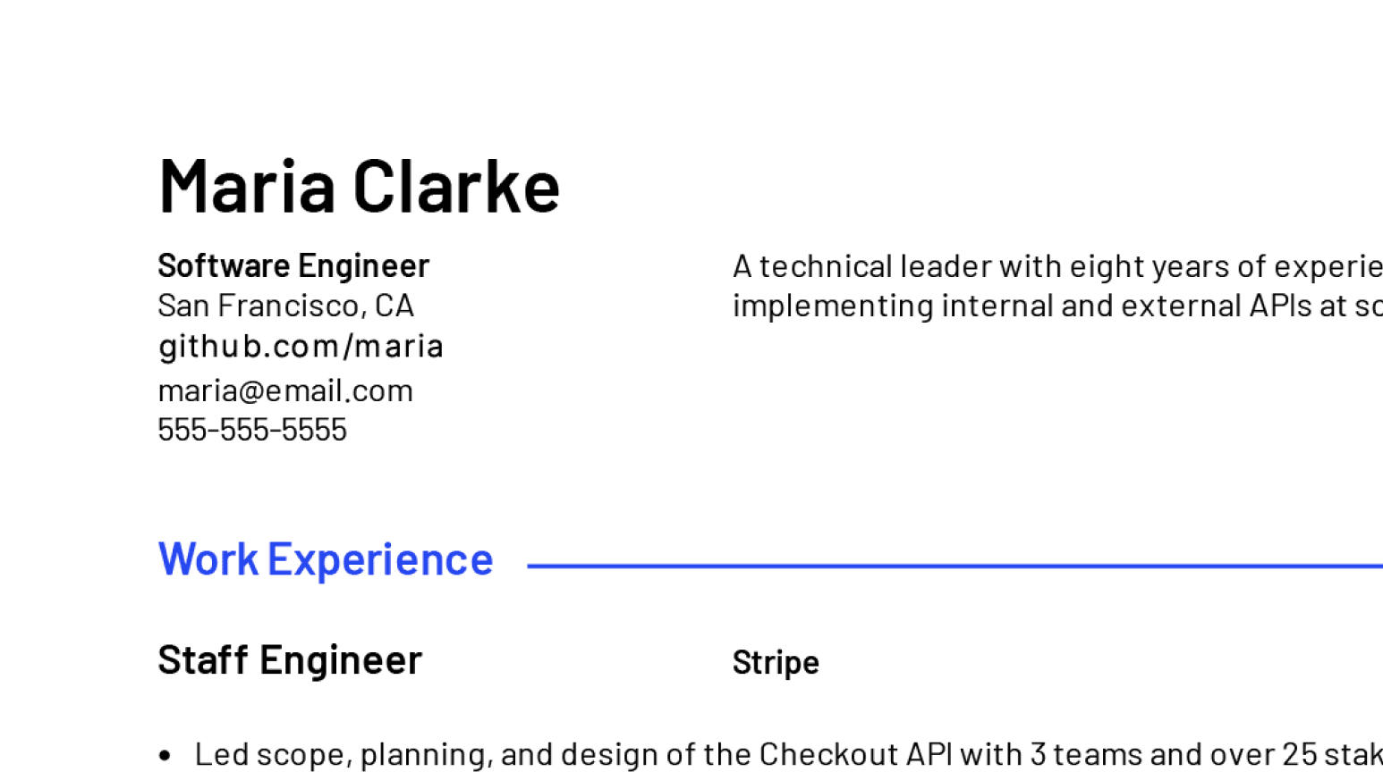 Design details of professional Software Engineer resume sample.