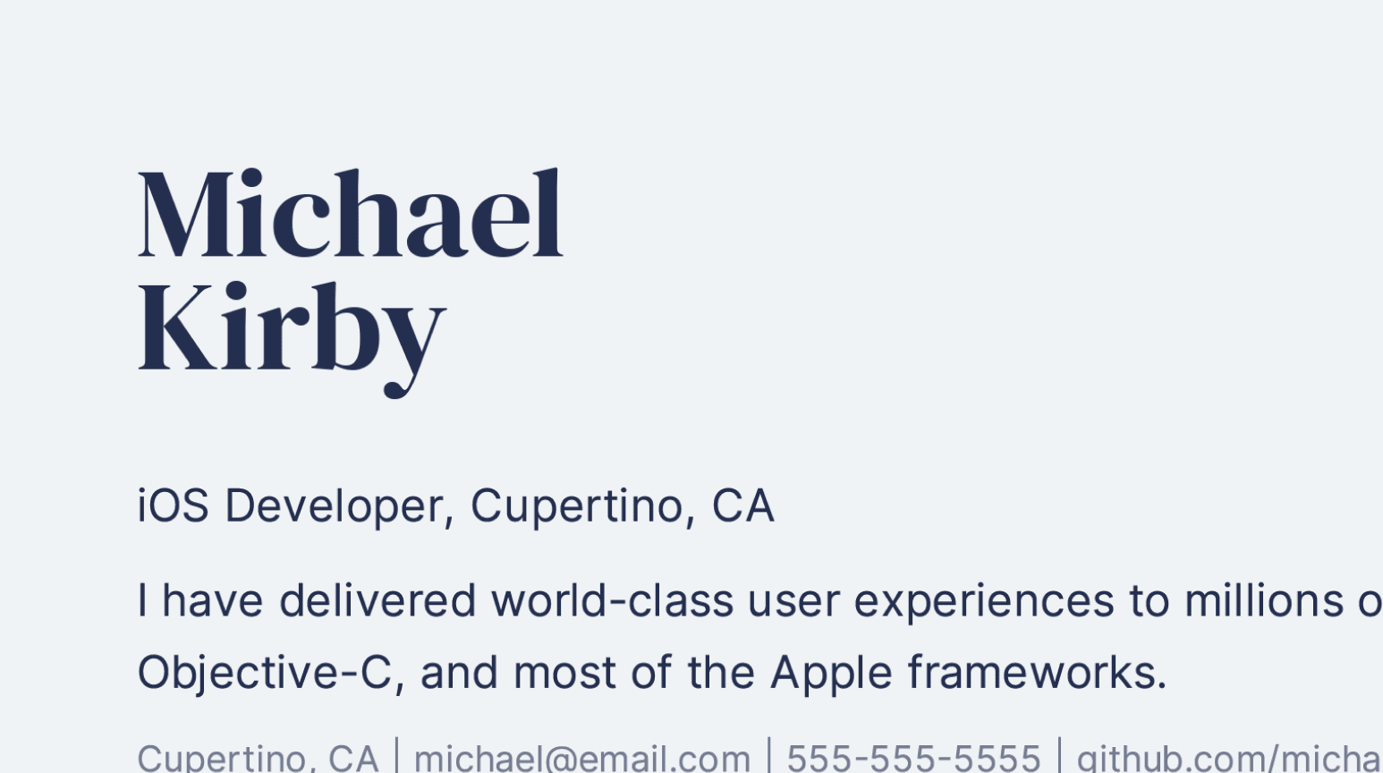 Design details of professional iOS Developer resume sample.