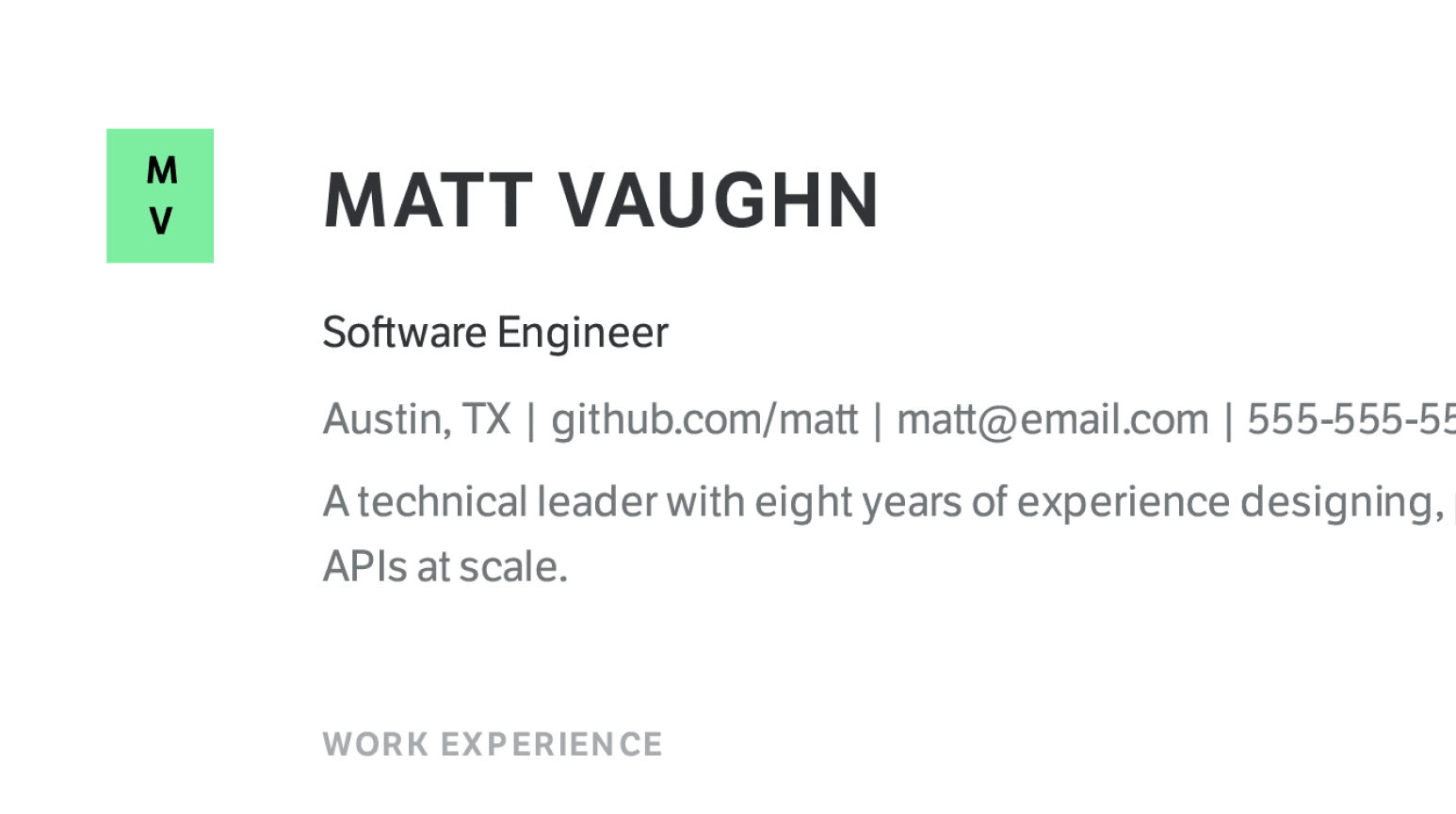 Design details of simple Software Engineer resume sample.
