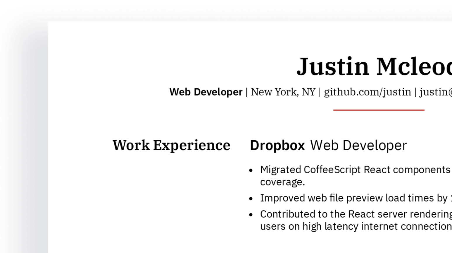 Design details of professional web developer resume sample.