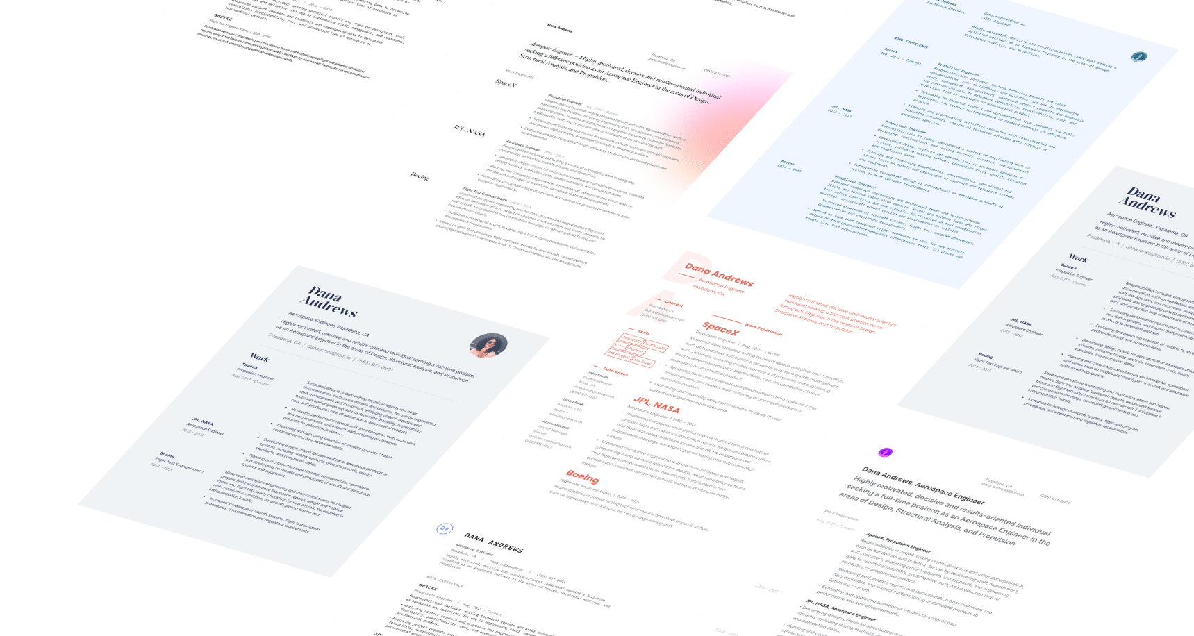 A grid of resumes created with Standard Resume
