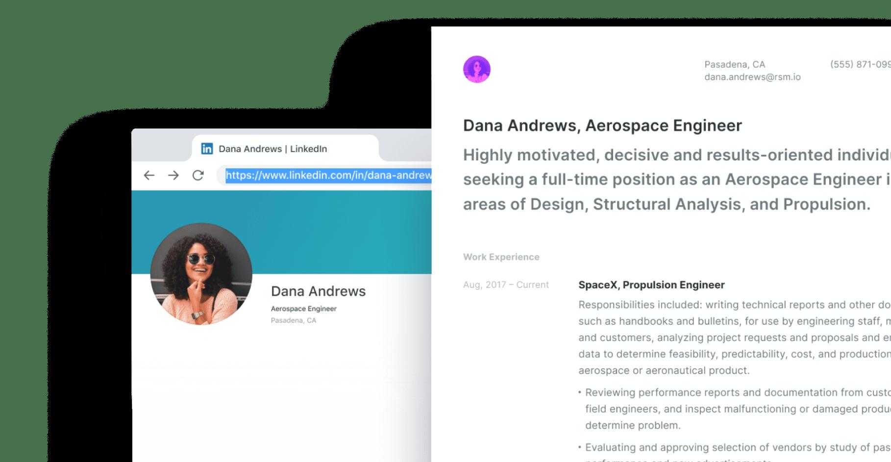 LinkedIn creative resume builder.