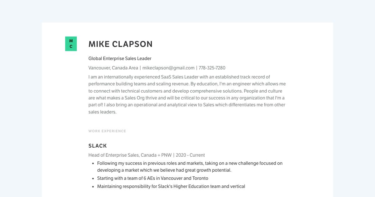 Global Enterprise Sales Leader resume template sample made with Standard Resume