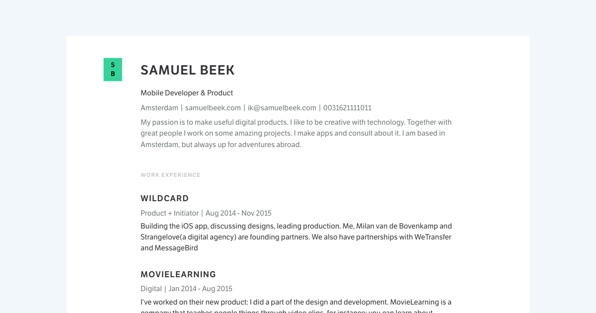 Mobile Developer resume template sample made with Standard Resume