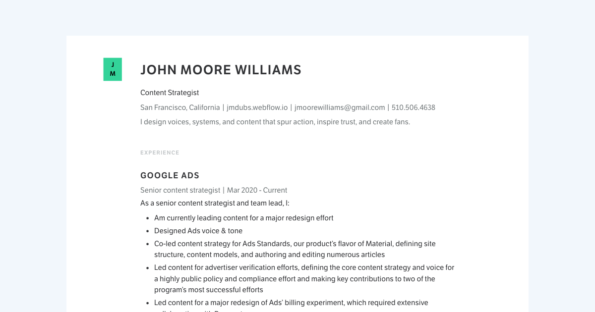 Content Strategist resume template sample made with Standard Resume