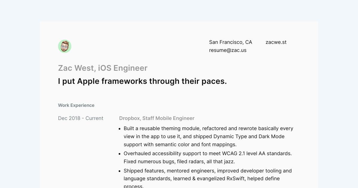 Senior iOS Engineer resume template sample made with Standard Resume