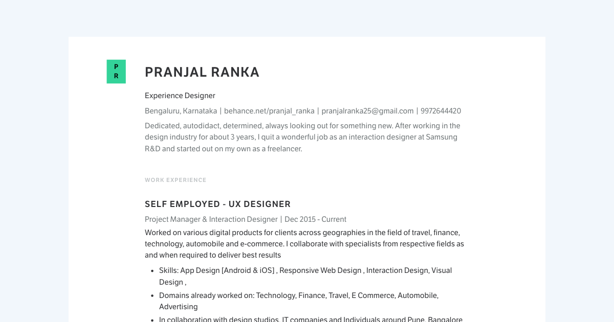 Experience Designer resume template sample made with Standard Resume