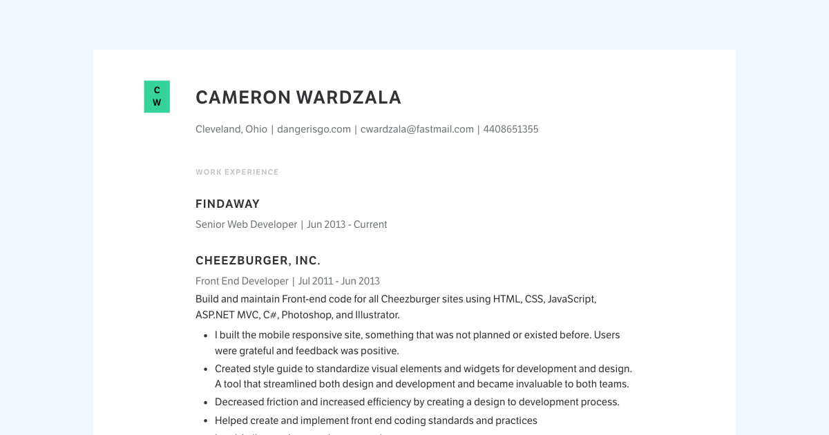 Senior Web Developer resume template sample made with Standard Resume