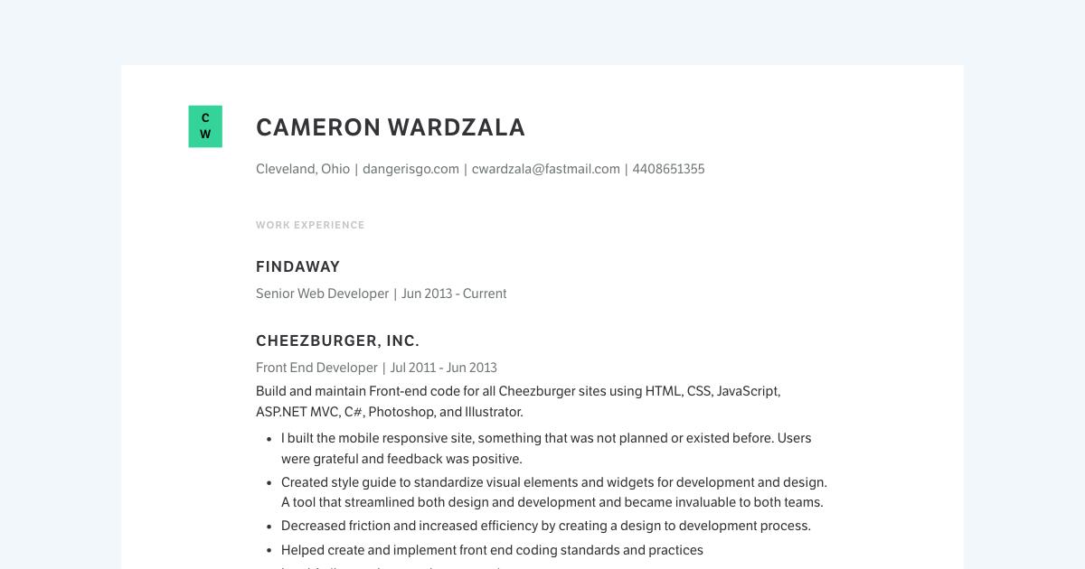 Senior Web Developer resume template sample made with Standard Resume