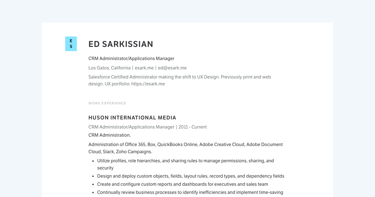 Product Manager resume template sample made with Standard Resume