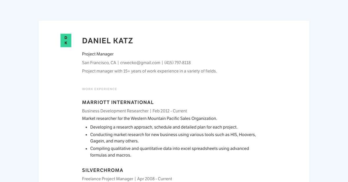 Project Manager resume template sample made with Standard Resume
