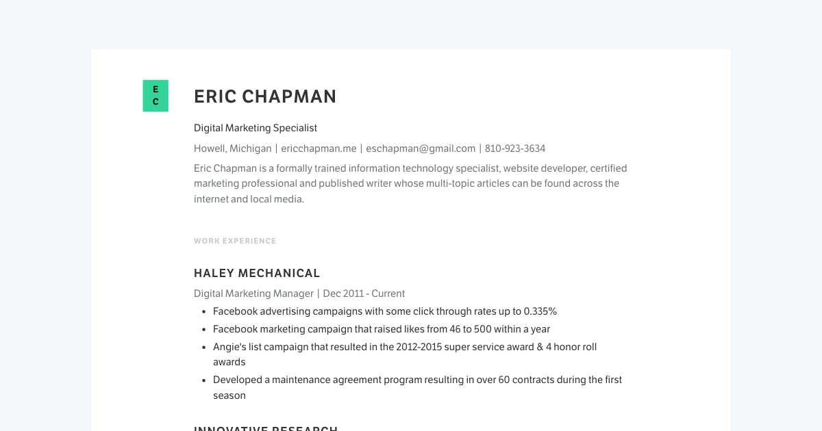Digital Marketing Specialist resume template sample made with Standard Resume