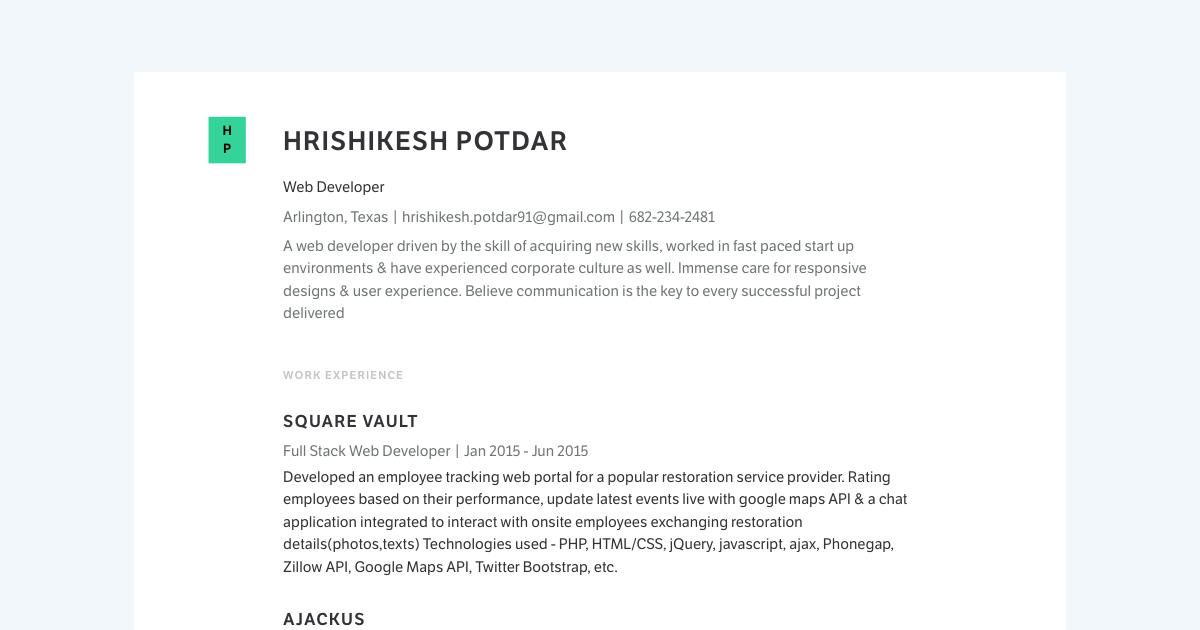 Web Developer resume template sample made with Standard Resume