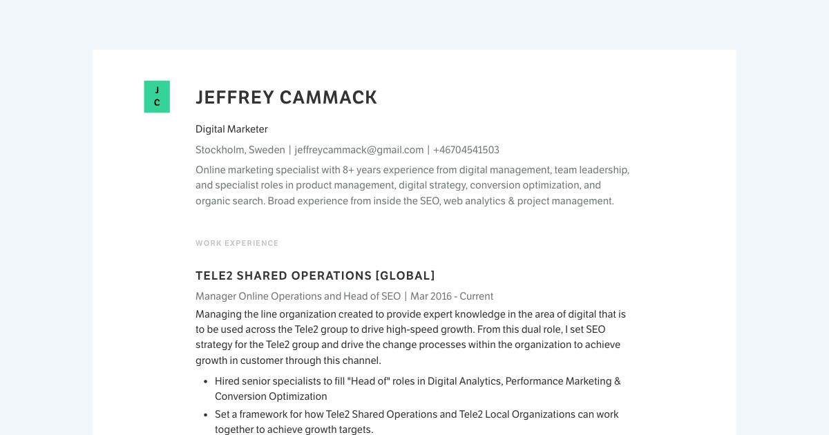 Senior Digital Marketer resume template sample made with Standard Resume