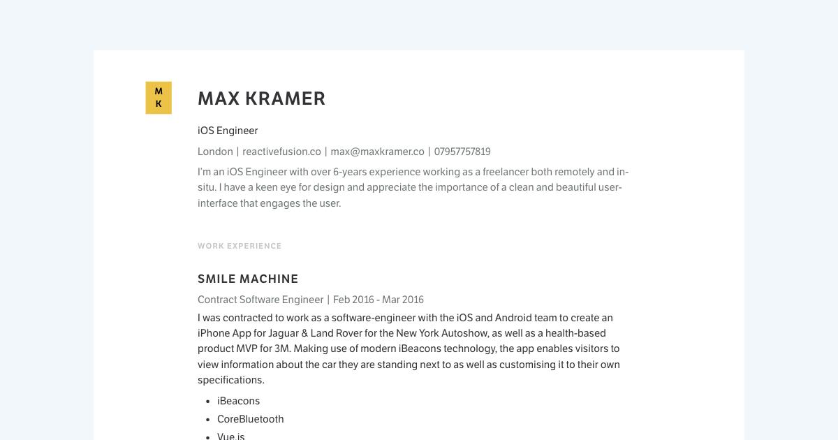 iOS Engineer resume template sample made with Standard Resume