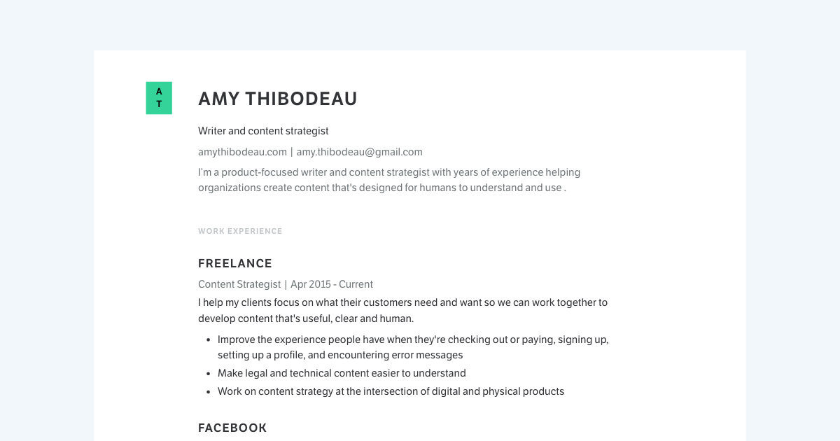 Writer & Content Strategist resume template sample made with Standard Resume