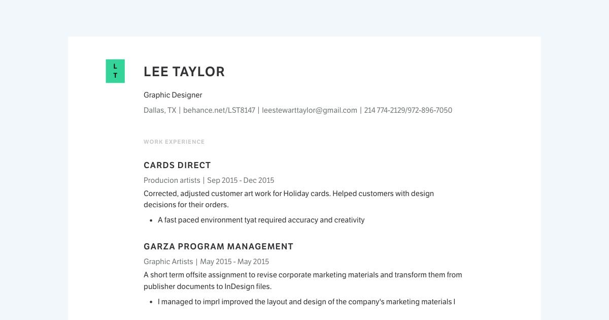 Senior Graphic Designer resume template sample made with Standard Resume