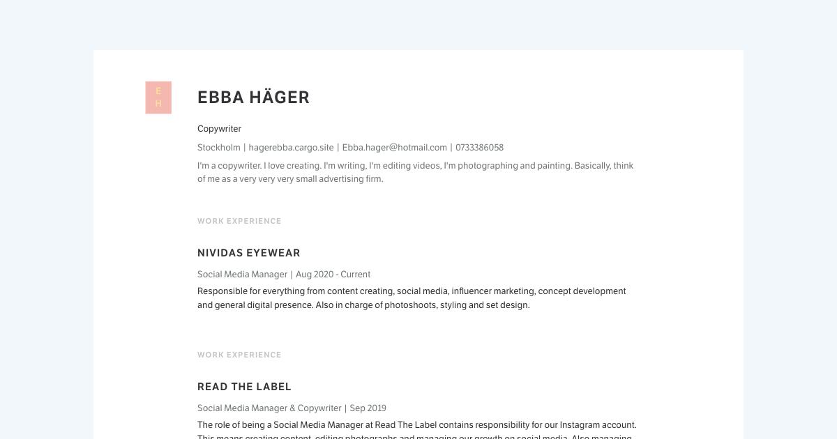 Copywriter resume template sample made with Standard Resume