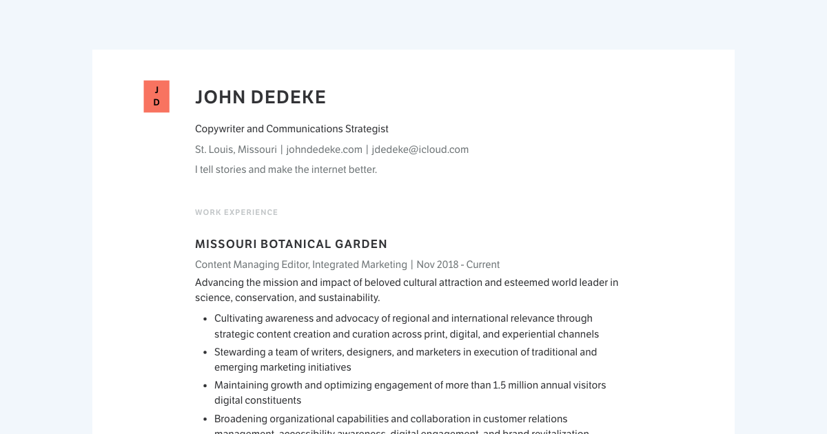 Copywriter & Content Strategist resume template sample made with Standard Resume
