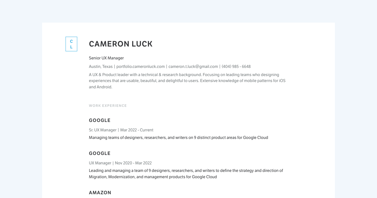 UX Designer resume template sample made with Standard Resume