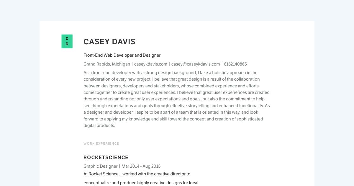 Front End Web Developer & Designer resume template sample made with Standard Resume