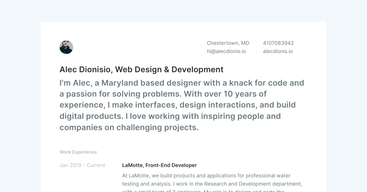 Senior Web Designer & Developer resume template sample made with Standard Resume