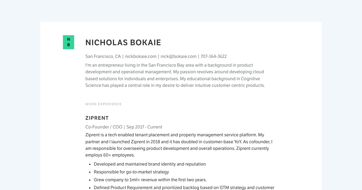 Product Designer resume template sample made with Standard Resume