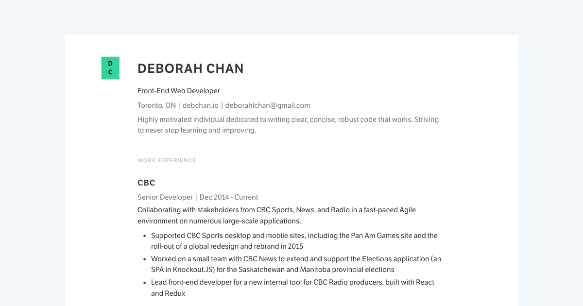 Front End Web Developer resume template sample made with Standard Resume