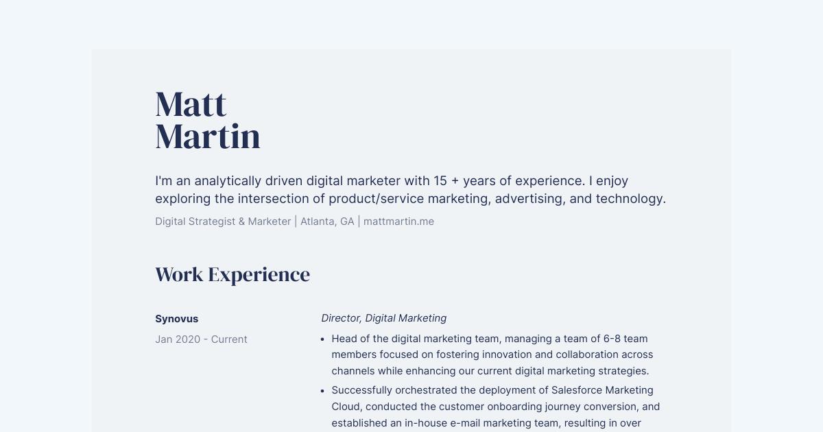 Director, Digital Marketing resume template sample made with Standard Resume