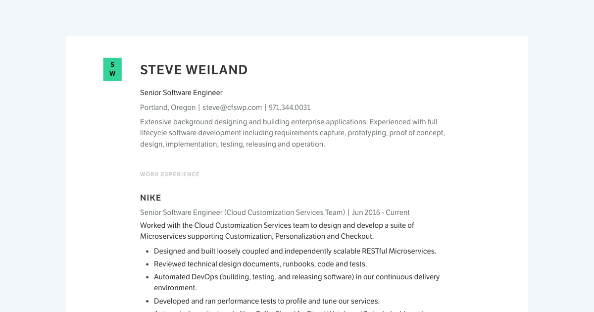 Senior Software Engineer resume template sample made with Standard Resume