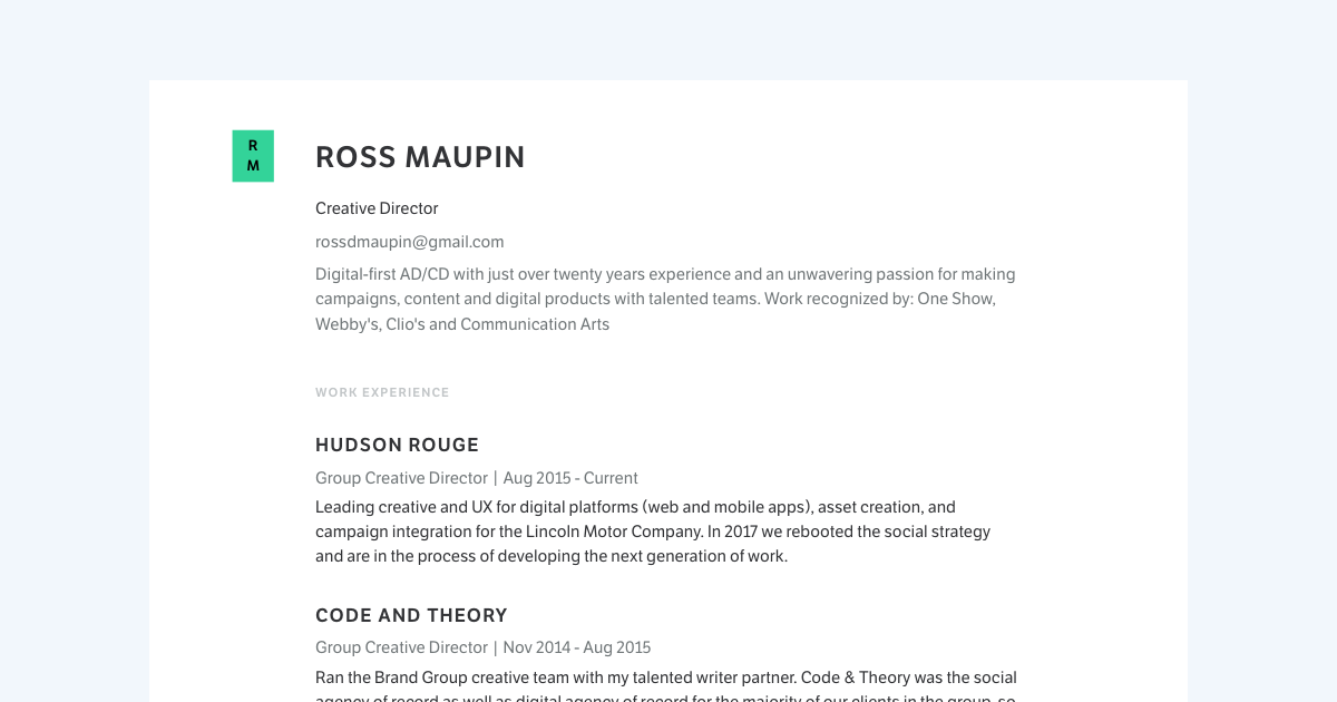 Creative Director resume template sample made with Standard Resume